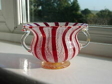 Murano Small Latticino Filigree Art Glass Mini handled Bowl White & Red