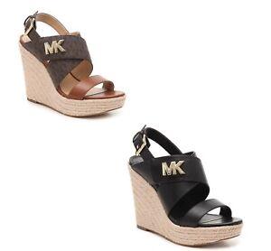 Women MK Michael Kors Sidney Espadrille Wedge Buckle Up Sandal Leather