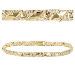 "Men's 14k Yellow Gold Solid Nugget Bracelet 7""- 7.5"" 4.75mm 9.5 grams"