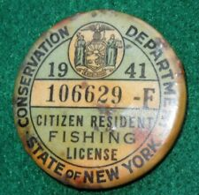 New York Conservation Department 1941 Citizen Resident Fishing License Button