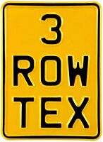 5x7 3 row yellow and black pressed number plate text motorcycle metal aluminum