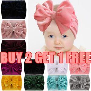 Handmade Velvet Turban Bows Headband Baby Kids Bow Knot Hair Bands Head Wrap
