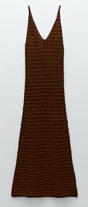 ZARA WOMAN NWT SS21 BROWN BEADED CROCHET DRESS ALL SIZES  0021/013