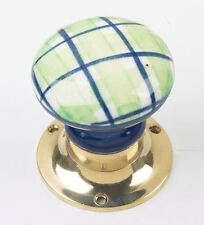 Blue and Green Checkered Ceramic Mortice Door Knob Set With Brass Backplates