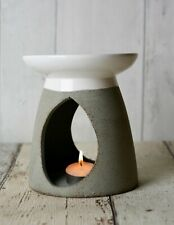 Piquaboo Large Grey Ceramic Oil Burner Height 13 Cm - With 13x11x11 Cm