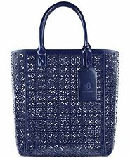 Tory Burch Large blue Lace Perforated Patent leather Tote Bag purse Handbag new