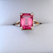Handmade 3.90ct Pink Topaz Emerald Sterling Silver Solitaire Ring