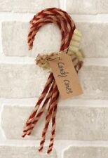 """6 Primitive Candy Canes 9"""" Long Grungy Chenille Christmas Bowl Filler Ornaments"""