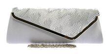 Silver Metallic Pewter Grey Clutch Bags Diamante Animal Croc Wedding Hard Case