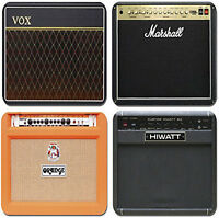 SEt OF 4 CLASSIC GUITAR AMPLIFIERS- QUALITY SQUARE WOODEN COASTER SET