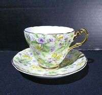 Regency Bone China made in England Tea Cup and Saucer Set Floral Purple, Yellow