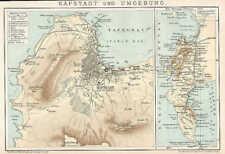 KAPSTADT Capetown Südafrika LANDKARTE von 1894 Tafelberg Hafen