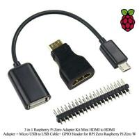 3-in-1 Adapter Kit For Raspberry Pi Zero Mini HDMI To HDMI USB To USB Cable Cord