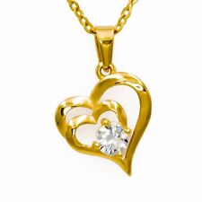 Mother Love Double Heart Cubic Zirconia Pendant Necklace (Gold-Plated)