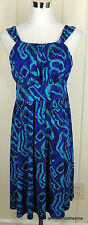 Jones New York 8 Green & Blue Ikat Stretch Knit Dress