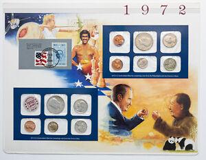 1972-P&D U.S MINT SET NIXON VISITS CHINA CARDED MS BU MULTI COLOR TONED COINS
