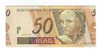 50 Reais Brasilien Fehlschnitt - Brazil Cut Error UNC