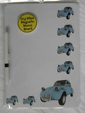 CLASSIC BLUE CITROEN 2CV CAR DRY WIPE MAGNETIC FRIDGE MEMO BOARD WITH PEN.NEW