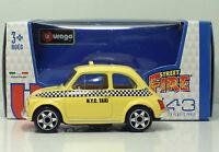 Bburago 30010 FIAT 500 NYC TAXI  + METAL Scala 1:43