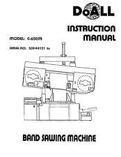 DoAll Band Saw Operators Manual Model No. C-650M