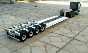 4-axle 1/14  Large Aluminum LowBoy Trailer for all Tamiya 1/14 Tractor Truck NIB