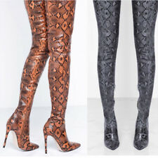 Women thigh high boots snake Boa print stiletto heel Sexy over the knee Booties