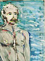 """André TELLIER  - """""""" Auto portrait """"  gouache vers 1950/60"""