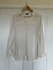 Marks And Spencer Autograph Ivory Long Sleeve Blouse Size 14