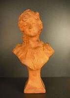 Bust of Young Woman Joseph the Guluche Art Nouveau Jugend Style Sculpture 43 CM