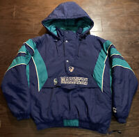 Vintage Starter Seatle Mariners MLB Hooded Zip Pullover Puffer Jacket Mens Sz XL