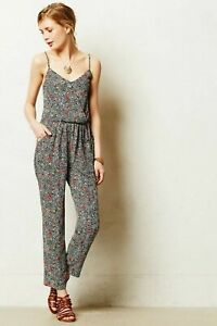 """Elevenses by Anthropologie Women's """"Peonia"""" Spaghetti Strap Jumpsuit, Size S"""