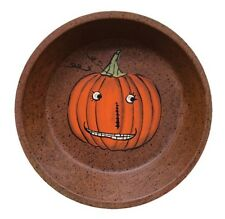 "Country Halloween Smiling Pumpkin Rusty Tin Dish 7"" dia. New"