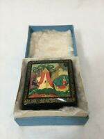 VTG Russian Fedoskino Lacquer Miniature Painting Square Box, Signed by Artist