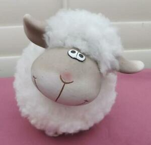 JEFFLES SHEEP TERRCOTTA WITH IMATION WOOL ORNAMENT FIGURINE STATUE  NEW