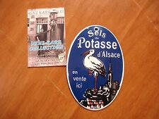 PLAQUE EMAILLEE BOMBEE SELS POTASSE ALSACE nid cigogne 12 x 8 cm enameled sign
