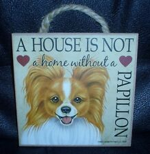 Red And White Papillon A House Is Not A Home Wooden Plaque