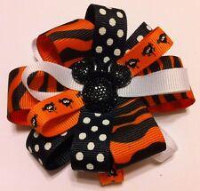 "Girls Hair Bow 3 1/2"" Wide Flower Halloween Minnie Grosgrain French Barrette"