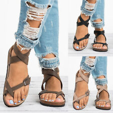 Womens Gladiator Flat Flip Flops Ladies Thong Sandals T Bar Shoes Size Holiday