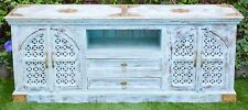 Sandblasted French Provincial Blue Brass Top  Distressed  Entertainment TV Unit