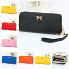 New Leather Women Bowknot Purse Solid Girls Coin Wallet Handbag Cluth Tote Bags