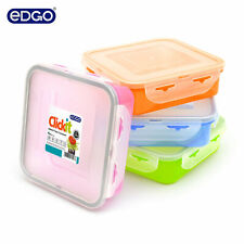 EDGO 4 Sandwich Lunch Boxes,Clear coloured Plastic Container Kid Snack BPA Free