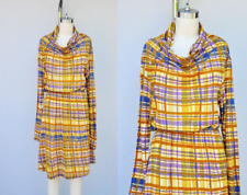 SUNO Dress - ALPACA Blend Dress - Long Sleeves - Plaid - Sheer - Winter Fall XS