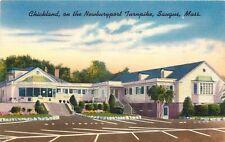 Linen Roadside Postcard Chickland Restaurant, Newburyport Turnpike Saugus MA