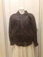 Express 100% VTG Leather Bomber Aviator Jacket Men's Small  Brown W Belt