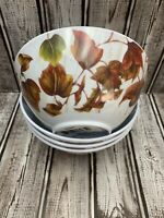 Set of 4 Autumn Fall Leaves Melamine Cereal Salad Soup Bowls Thanksgiving