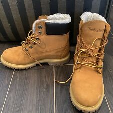 "Timberland Women's Classic 6"" Fleece Lined Waterproof Boots Wheat Nubuck NEW Sz7"