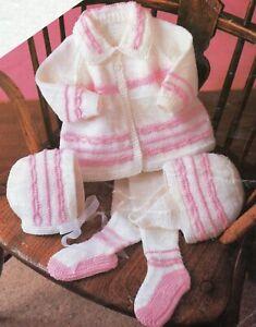 Baby Dk Knitting Pattern Matinee Cardigan Pram Set Sizes 18 - 20  inches #80