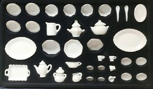 Dollhouse Miniature White Porcelain   Complete Tea & Dinner Service for  Four