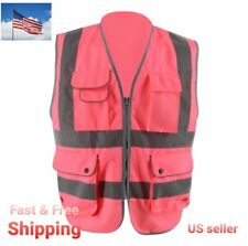 Pink Safety Vest Hi Vis Viz Vest High Visibility Waistcoat Reflective Jacket Poc