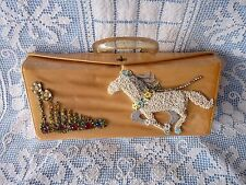 FRE MOR 1950's Gold SATCHEL PURSE Beaded RUNNING HORSE Twisted Lucite Handle